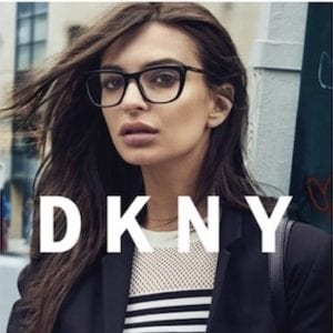 Woman wearing large DKNY Glasses