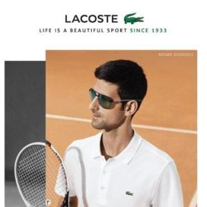 Tennis player wearing Lacoste Glasses