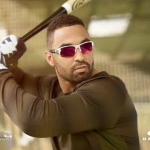 Baseball player wearing Oakley Glasses
