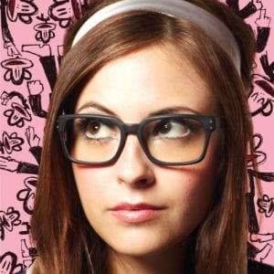 A young woman wearing Paul Frank Glasses