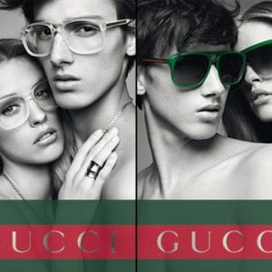 Couple's gucci glasses campaign
