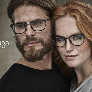A young couple wearing skaga glasses