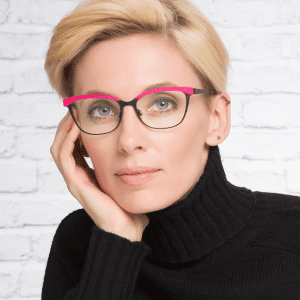 Woman wearing pink Bevel Glasses