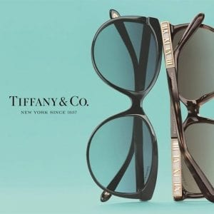 A product shot of Tiffany and co glasses