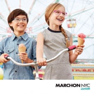 Kids wearing marchon junior glasses